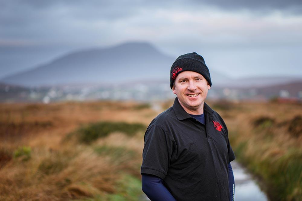 Achill Oysters farm bog road with Hugh O'Malley